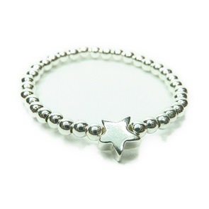 2mm Sterling Silver Star Bead Ring