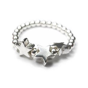 2mm Three Star Sterling Silver Ring