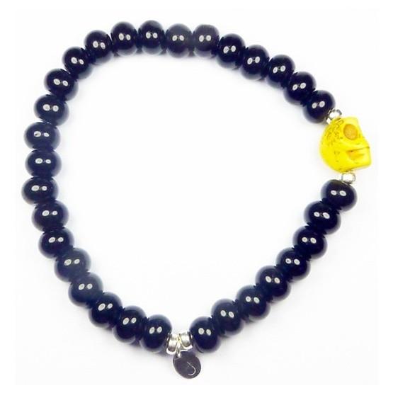 Black Onyx Beach Bones Bracelet for Men with Yellow Skull