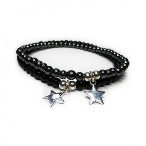 Black Onyx and Hematite JoJo Bead Bracelets with Sterling Silver Star