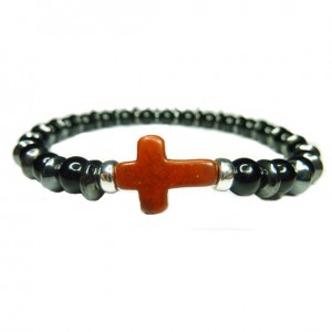 Black Onyx with Alternating Hematite Washers and Brown Cross Bracelet for Men