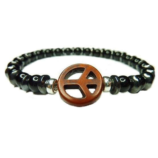 Black Onyx with Alternating Hematite Washers and Brown Peace Bracelet for Men
