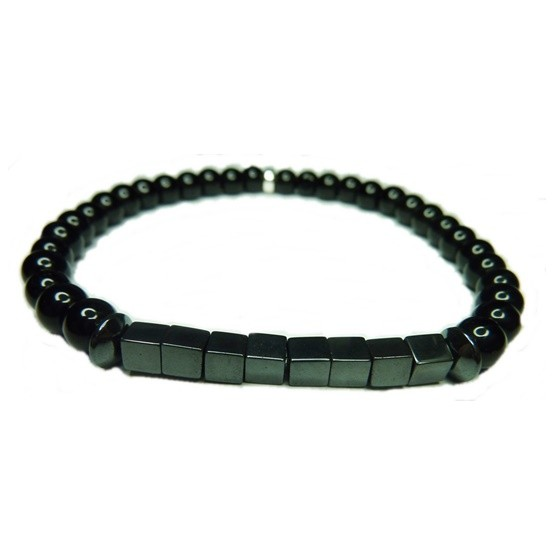 Black Onyx with Hematite Block Bracelet for Men