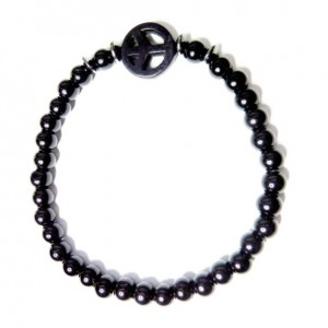 Black Onyx with Hematite Washers and Black Peace Bracelet for Men