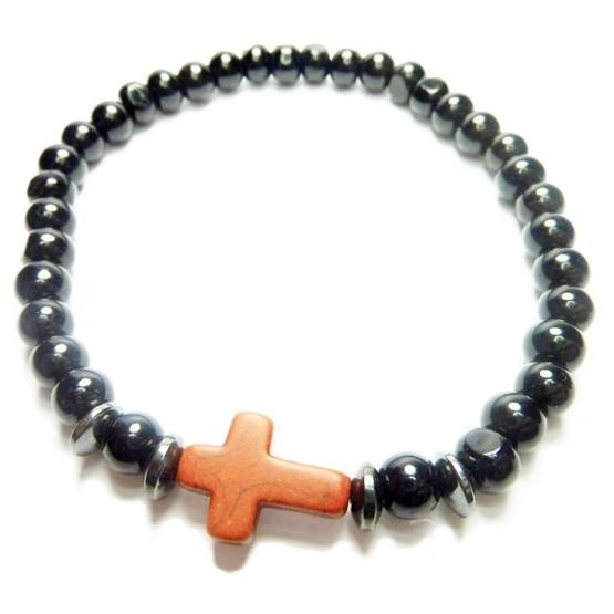 Black Onyx with Hematite Washers and Borwn Cross Bracelet for Men