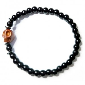 Black Onyx with Hematite Washers and Brown Skull Bracelet for Men