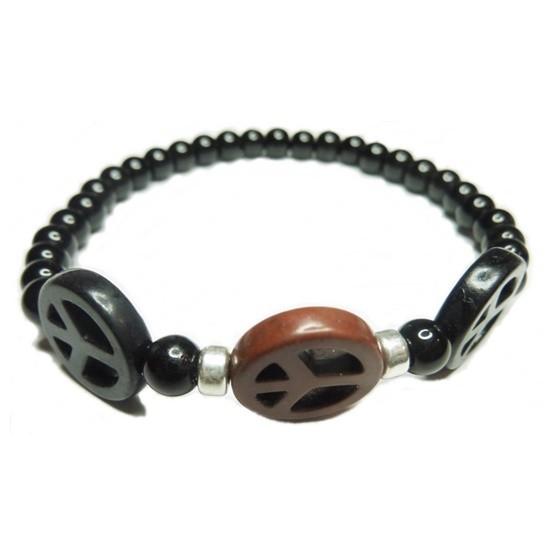Black Onyx with Triple Peace Bracelet for Men