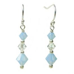 Blue Stering Silver and Swarovski Crystal Drop Earrings