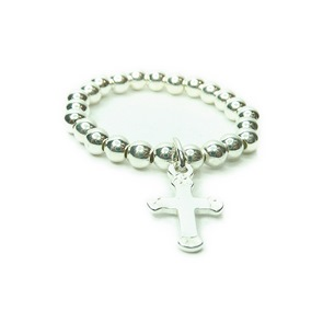 Sterling Silver Ball Stretch Ring with Cross