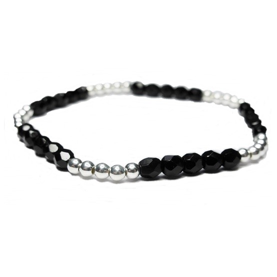 Faceted Black Czech and Sterling Silver Ball Bracelet