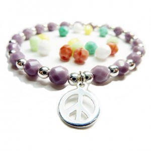 Faceted Czech & Sterling Silver Ball Bracelet with Choice of Charms