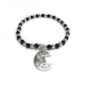 Faceted Onyx &Sterling Silver Bracelet Bracelet with Moon Charm