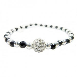 Faceted Onyx and Sterling Silver Bracelet Bracelet with Pave Shamballa Style Bead