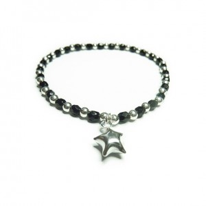 Faceted Onyx and Sterling Silver Bracelet Bracelet with Puffed Heart Charm