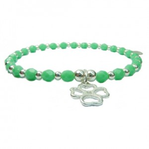 Green Faceted Czech & Sterling Silver Ball Bracelet with Open Clover