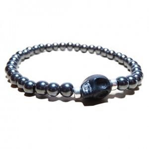 Hematite Ball Bracelet for Men with Black Skull
