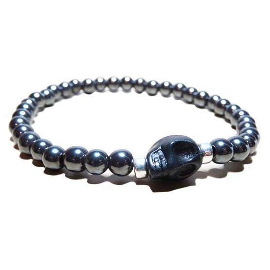 Hematite Ball Bracelet for Men with Black Skull