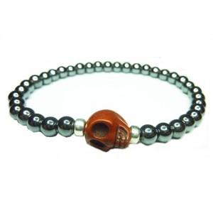 Hematite Ball Bracelet for Men with Brown Skull