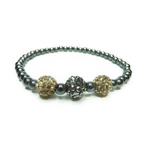Hematite Bracelet with Gold & Gunmetal Pave
