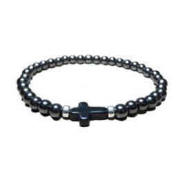 Hematite JoJo Bead Bracelet with Black Magnesite Cross