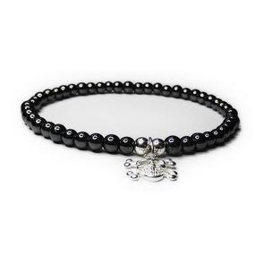 Hematite JoJo Bracelet with Skull & Crossbones