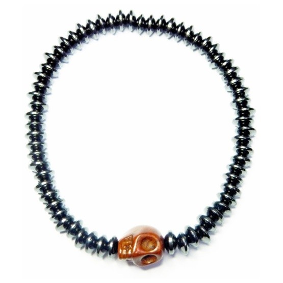 Hematite Saucer Bracelet with Brown Skull