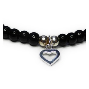 JoJo Bracelet with Open Heart Charm Closeup