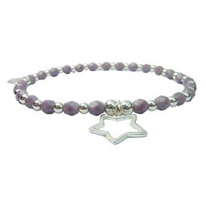 Lavender Faceted Czech & Sterling Silver Ball Bracelet with Open Star