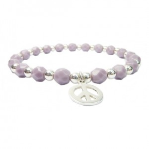 Lavender Faceted Czech & Sterling Silver Ball Bracelet with Peace