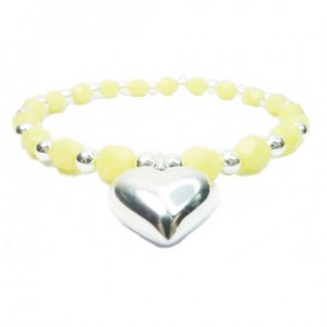 Lemon Faceted Czech & Sterling Silver Ball Bracelet with Puffed Heart