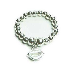 Sterling Silver Stretch Ball Ring with Lips Charm