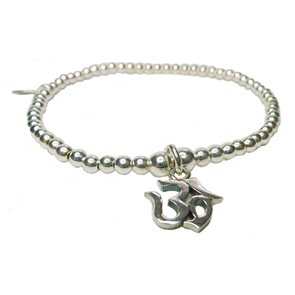 Sterling Silver Ball Bracelet with Ohm Charm