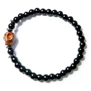 Onyx Men's Bracelet with Brown Skull