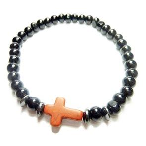 Onyx with Hematite Rondelles and Cross