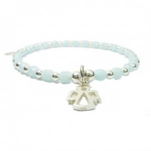Pale Blue Faceted Czech & Sterling Silver Ball Bracelet with Angel