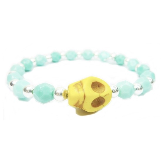 Pale Blue Faceted Czech and Alternating Sterling Silver Balls with Yellow Skull