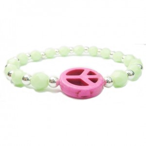Pale Green Faceted Czech and Alternating Sterling Silver Balls with Fuchsia Peace