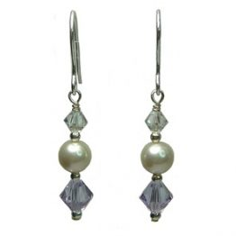 Sterling Silver Swarovski Pearl with Purple Drop Earrings
