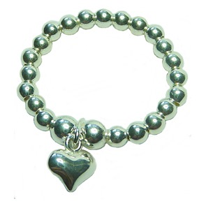 Sterling Silver Ball Stretch Ring with Puffed Heart