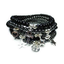 Stack of Black Onyx and Hematite JoJo Bead Bracelets with Sterling Silver Charms