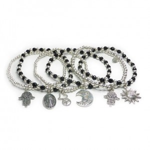 Stack of Spiritual Collection Faceted Onyx & Sterling Silver Bracelets