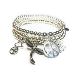 Stack of Sterling Silver Ball Bracelets with Charms