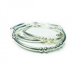 Stack of Sterling Silver & Pearl Noodle Bracelets