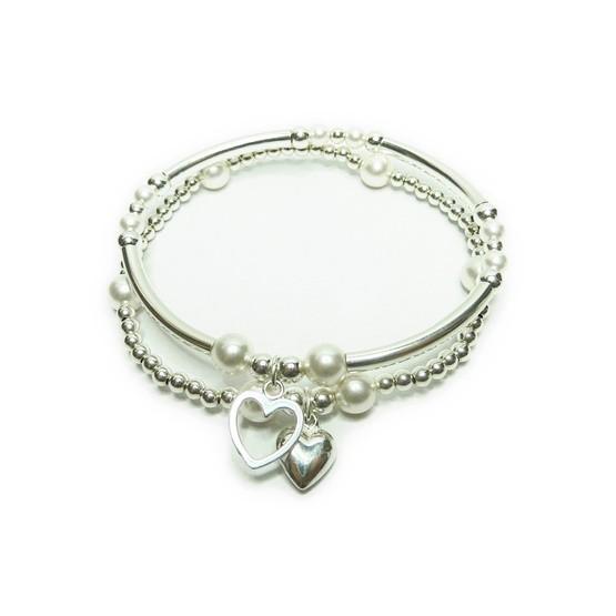 Stack of Sterling Silver & Swarovski Pearl Noodle Bracelets
