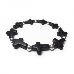 Sterling Silver & Alternating Black Magnesite Crossl Bracelet