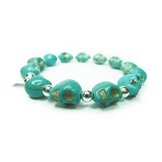 Sterling Silver & Alternating Blue Magnesite Skull Bracelet