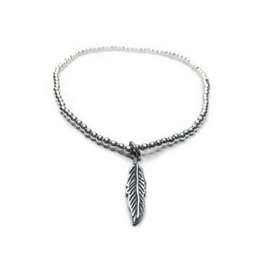 Sterling Silver Ball Anklet with Feather Charm
