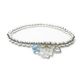 Sterling Silver Ball Bracelet with Clover, Heart & Swarovski Crystal