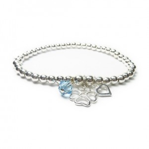 Sterling Silver Ball Bracelet with Clover, Heart & Swarovski Crystal