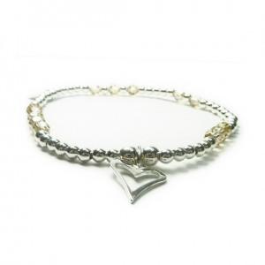 Sterling Silver Ball & Champagne Swarovski Crystal Bracelet with Open Heart